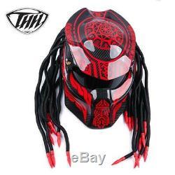 Predator helmet Red gossip carbon fiber motorcycle iron full face DOT red laser