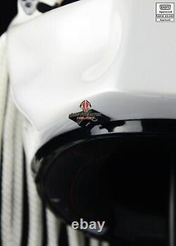 Pure White Predator Motorcycle Dot Approved Biker Helmet Red Tri Laser Beam