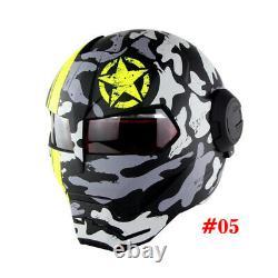 SOMAN Iron Man Helmet Flip Up Motorcycle Helmet Robot Style Motorbike Casco DOT