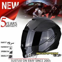 Scorpion Exo 1400 Carbon Air Motorcycle Open Face HelmetTCTBlackAll Sizes