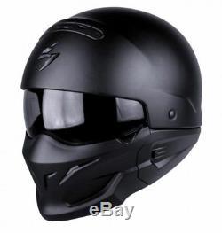 Scorpion Exo Combat / Covert Open Face / Full Face Motorcycle Helmet Matt Black
