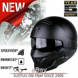Scorpion Exo Combat Open Face Motorcycle Unisex Helmets Matt Black All Sizes