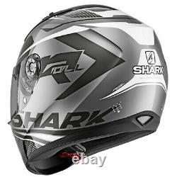 Shark Ridill Stratom Motorcycle Motorbike Full Face Helmet AKW Black / Silver
