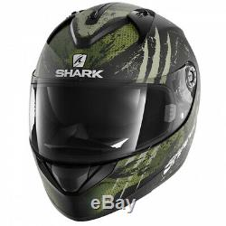 Shark Ridill Threezy Motorcycle Motorbike Full Face Helmet KWG Black / Green
