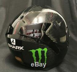 Shark SPARTAN CARBON Skin with MONSTER Stickers FREE Dark Visor Motorbike Helmet