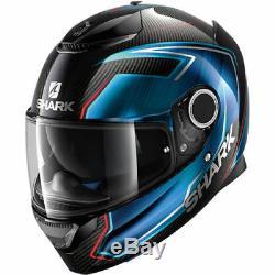 Shark Spartan Carbon Guintoli Blue Motorcycle Motorbike Helmet (+ free gift)