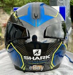 Shark Spartan Carbon Guintoli Replica Helmet 2019 Yellow Blue £409 New & Visor