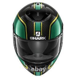 Shark Spartan Carbon Priona Motorcycle Motorbike Helmet Black / Green