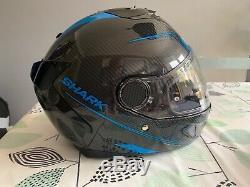 Shark Spartan Carbon Silicium Motorcycle Motorbike Helmet Black / Blue