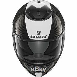 Shark Spartan Carbon Skin Mat Motorcycle Helmet XL White Sun Visor Pinlock ECE