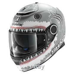 Shark Spartan Lorenzo Motorcycle Full Face Helmet White / Grey FREE DARK VISOR