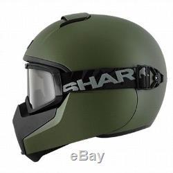 Shark Vancore Blank Full Face Motorcycle Helmet With Goggles Matt Green Medium