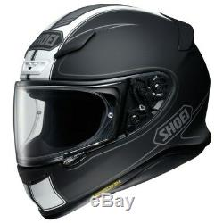 Shoei NXR Flagger Full Face Motorcycle Bike Crash Helmet Matt Black White Stripe