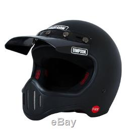 Simpson Retro M50 Matte Black Motorcycle Full Face Helmet 5 Snap Visor LARGE