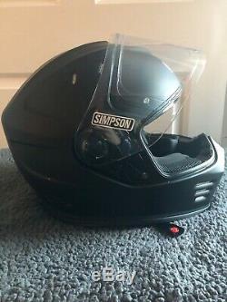 Simpson Venom Solid Matt Black Motorcycle Helmet Worn Once Only