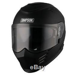 Simpson Venom (bandit) Motorcycle Motorbike Crash Helmet Matt Black Sun Visor