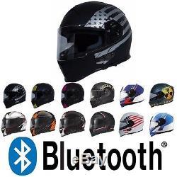 TORC Mako T14B Bluetooth Full Face Motorcycle Dual Visor Helmet DOT ECE