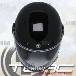 Torc T1 Retro Vintage Gloss Black Fiberglass Full Face Motorcycle Scooter Helmet