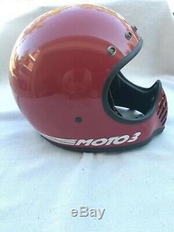 VINTAGE BELL MOTO III 3 ORIGINAL RED FULL FACE DIRT BIKE HELMET 7 1/8 with VISOR