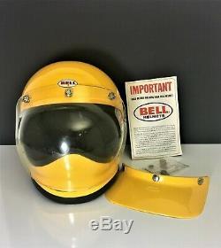VINTAGE Yellow 1970 BELL MOTO STAR MOTOCROSS HELMET MOTORCYCLE 7 3/8 Full Face