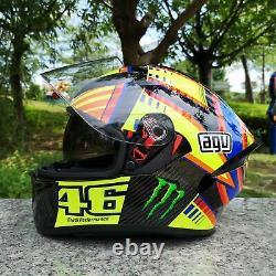 Valentino Rossi Helmet Moto Gp Double Visor Casco Vr46 Motogp Helm Casque