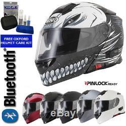Vcan Blinc V271 Hollow Bluetooth Flip Front Motorbike Helmet Mp3 Sat Nav