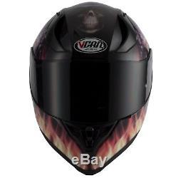Vcan V128 Flame Skull Demon Monster Motorcycle Helmet With Drop Down Sun Visor