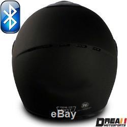 Vcan V136b Bluetooth Flat Matte Glossy Black Full Face Motorcycle Helmet Dot