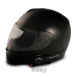 Vcan V136b Full Face Motorcycle Bluetooth Helmet Gloss Black Medium