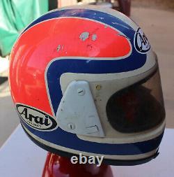 Vintage Arai Full Face Motorcycle Helmet M 7-7 1/8 Japan Red White Blue Snell 85