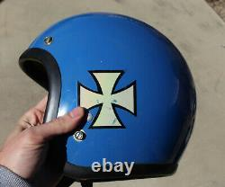 Vintage Bell Toptex RT R-T Motorcycle Helmet Blue Size 7 & 3/8 Rare Iron Cross