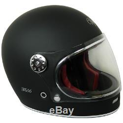 Viper F656 Retro Vintage Fibreglass Full Face Motorcycle Retro Helmet Matt Black