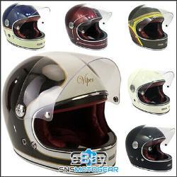 Viper F656 Vintage Full Face Fibreglass Classic Motorcycle Motorbike Helmet