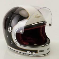Viper F656 Vintage Retro Style Motorbike Bike Helmet Fiberglass New Black/White
