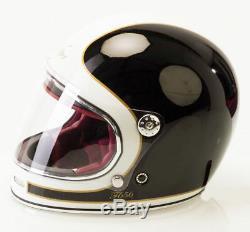 Viper F656 Vintage Retro Style Motorcycle Crash Helmet Fibreglass & Dark Visor