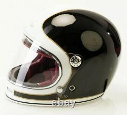 Viper Motorcycle Helmet Retro F656 Full Face Black Cream Small Minor Mark