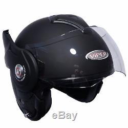 Viper RS-202 Reverse Flip Front Modular Motorcycle Touring Helmet Matt Black
