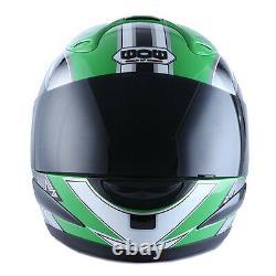 WOW Motorcycle Full Face Helmet Street Bike Adult Star Glossy Green S M L XL