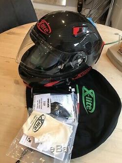 X-Lite X-803 Ultra Carbon Puro Red Race Motorcycle Helmet + DARK VISOR. Medium